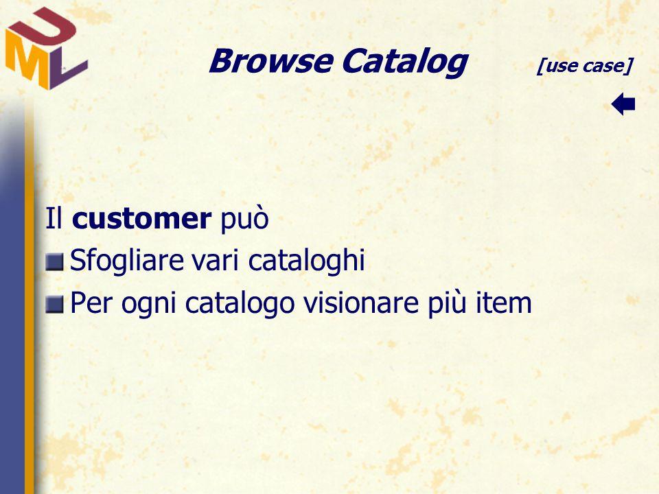 Browse Catalog [use case] Il customer può Sfogliare vari cataloghi Per ogni catalogo visionare più item 