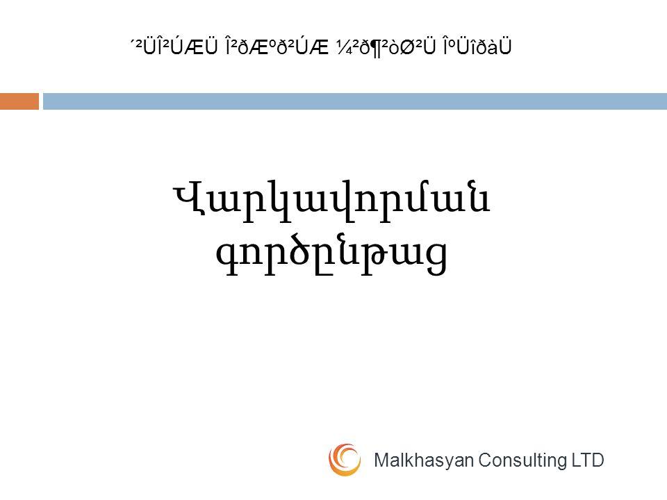 Malkhasyan Consulting LTD Ներգրավվում Փաստաթղթերի հավաքագրում Վերլուծություն Որոշման կայացում Ձևակերպում Տրամադրում Մոնիտորինգ Մարում ´²ÜβÚÆÜ Î²ðƺð²ÚÆ ¼²ð¶²òØ²Ü ÎºÜîðàÜ