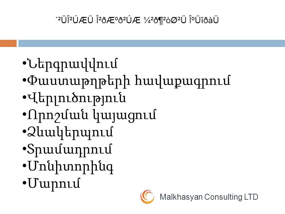 Malkhasyan Consulting LTD Վարկերի դասակարգում Օբյեկտիվ Սուբյեկտիվ ´²ÜβÚÆÜ Î²ðƺð²ÚÆ ¼²ð¶²òØ²Ü ÎºÜîðàÜ