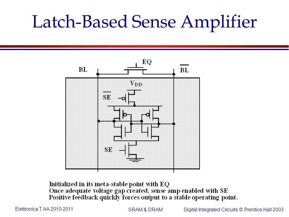 Elettronica T AA 2010-2011 Digital Integrated Circuits © Prentice Hall 2003 SRAM & DRAM Latch-Based Sense Amplifier