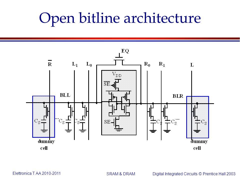 Elettronica T AA 2010-2011 Digital Integrated Circuits © Prentice Hall 2003 SRAM & DRAM Open bitline architecture