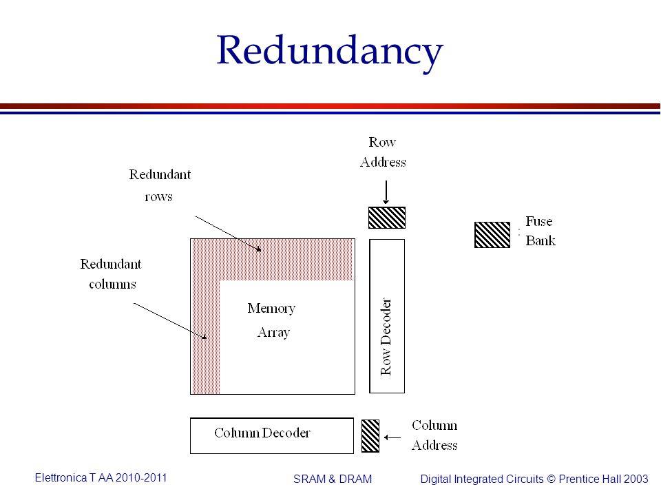 Elettronica T AA 2010-2011 Digital Integrated Circuits © Prentice Hall 2003 SRAM & DRAM Redundancy