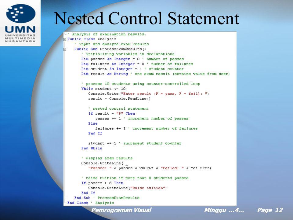 Pemrograman VisualMinggu …4… Page 11 Compound Assignment Operator Visual Basic provides the compound assignment operator for abbreviating assignment statements eq.