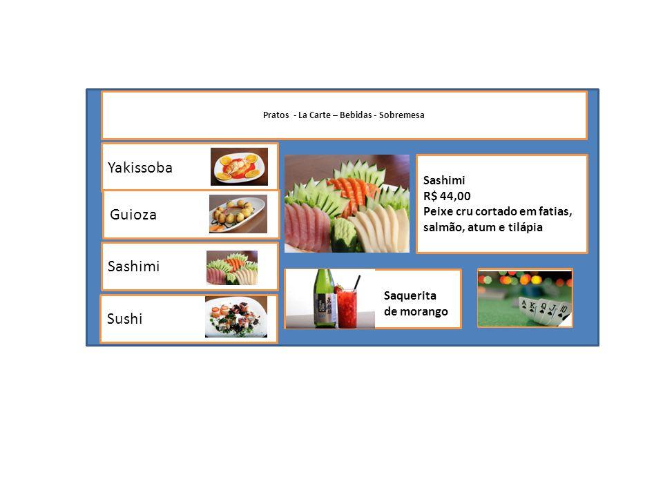 Yakissoba Sashimi Sushi Guioza Pratos - La Carte – Bebidas - Sobremesa Sashimi R$ 44,00 Peixe cru cortado em fatias, salmão, atum e tilápia Saquerita