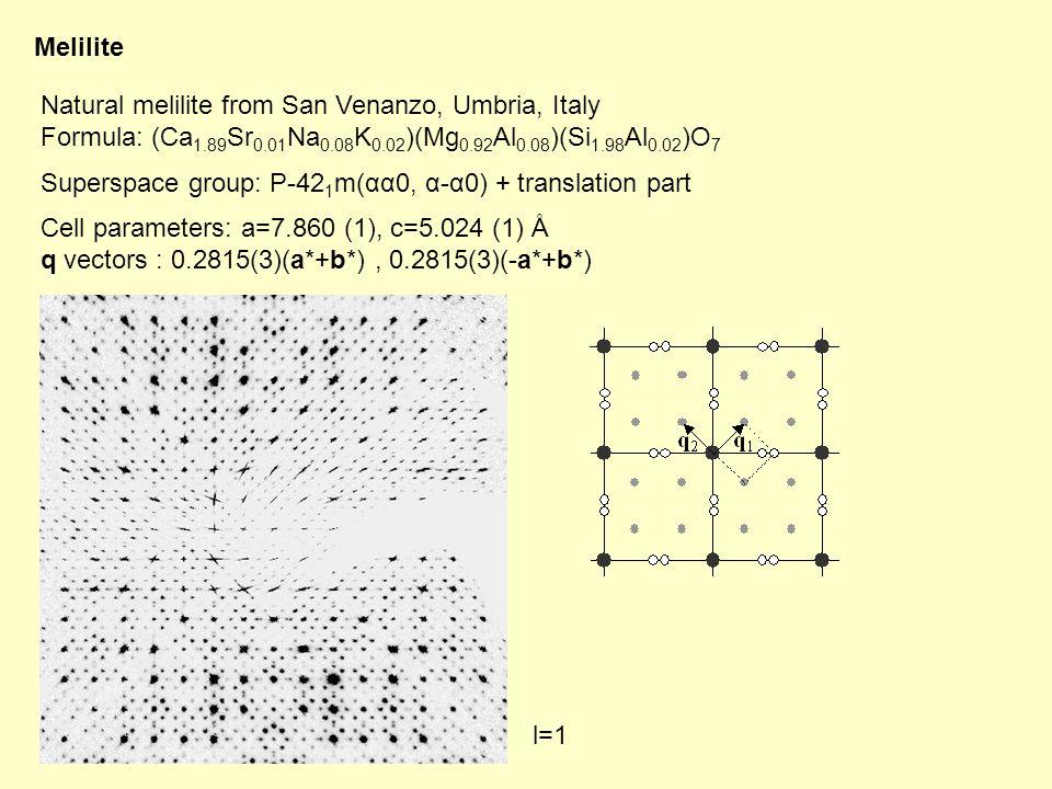 Melilite Natural melilite from San Venanzo, Umbria, Italy Formula: (Ca 1.89 Sr 0.01 Na 0.08 K 0.02 )(Mg 0.92 Al 0.08 )(Si 1.98 Al 0.02 )O 7 Superspace group: P-42 1 m(αα0, α-α0) + translation part Cell parameters: a=7.860 (1), c=5.024 (1) Å q vectors : 0.2815(3)(a*+b*), 0.2815(3)(-a*+b*) l=1