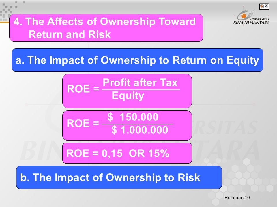 Halaman 10 4.The Affects of Ownership Toward Return and Risk a.