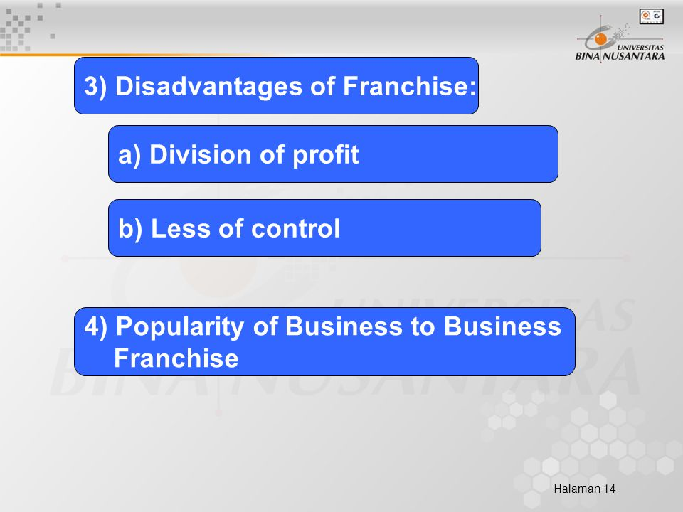 Halaman 14 3) Disadvantages of Franchise: a) Division of profit b) Less of control 4) Popularity of Business to Business Franchise