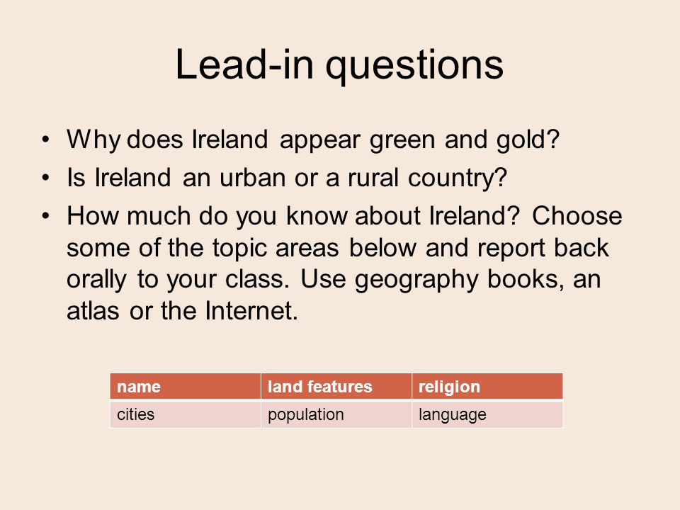 Lead-in questions Why does Ireland appear green and gold.
