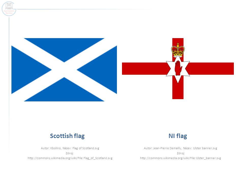 Scottish flag Autor: Kbolino, Název: Flag of Scotland.svg Zdroj: http://commons.wikimedia.org/wiki/File:Flag_of_Scotland.svg NI flag Autor: Jean-Pierre Demailly, Název: Ulster banner.svg Zdroj: http://commons.wikimedia.org/wiki/File:Ulster_banner.svg