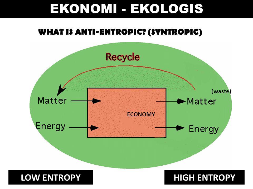WHAT IS ANTI-ENTROPIC? (SYNTROPIC) ECONOMY (waste) LOW ENTROPYHIGH ENTROPY EKONOMI - EKOLOGIS