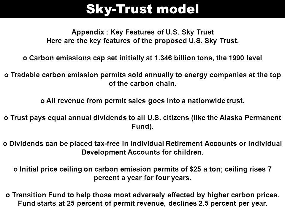 Sky-Trust model Appendix : Key Features of U.S.