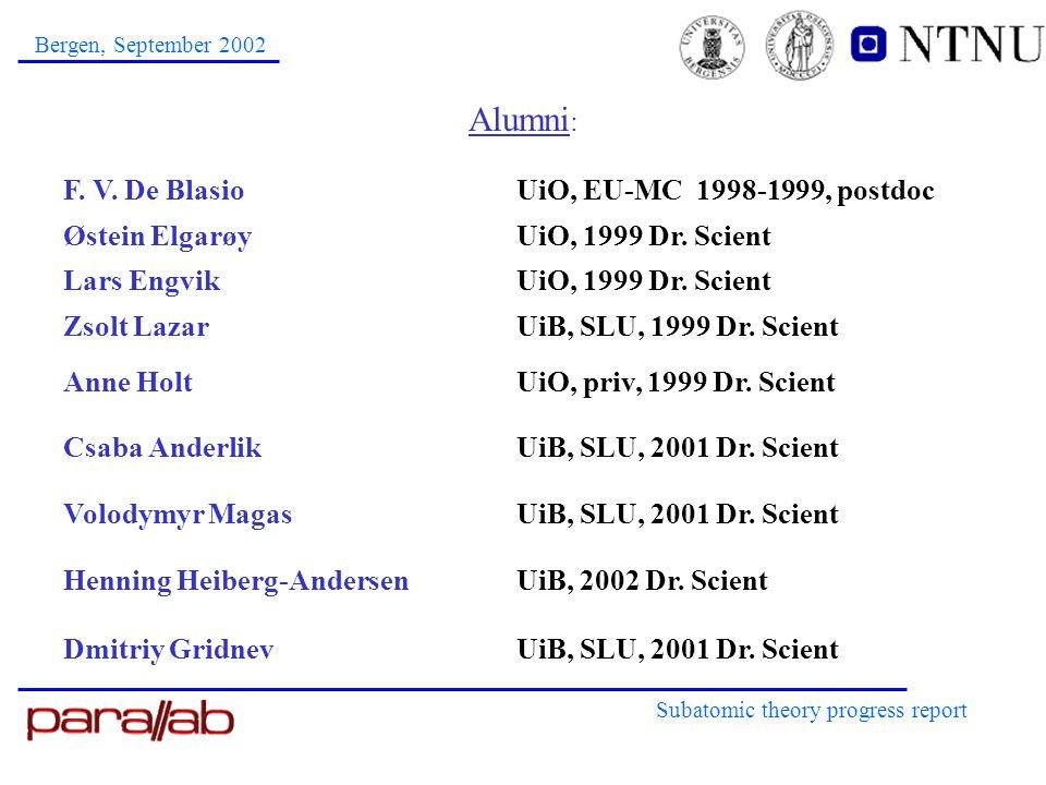 Alumni : Subatomic theory progress report Bergen, September 2002 F.