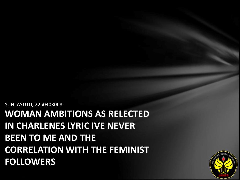 YUNI ASTUTI, 2250403068 WOMAN AMBITIONS AS RELECTED IN CHARLENES LYRIC IVE NEVER BEEN TO ME AND THE CORRELATION WITH THE FEMINIST FOLLOWERS