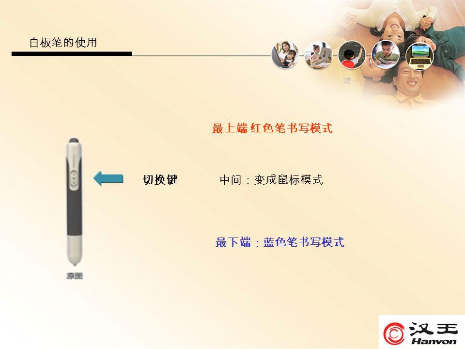 白板笔的使用 切换键 最上端 红色笔书写模式 中间:变成鼠标模式 最下端:蓝色笔书写模式