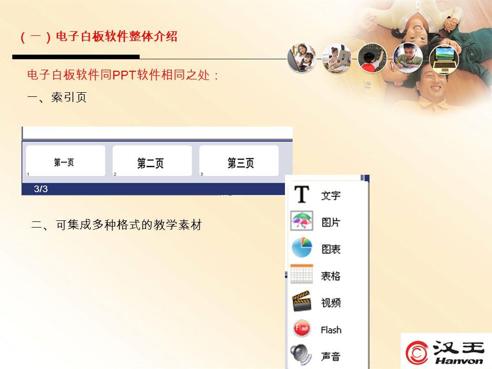 电子白板软件同 PPT 软件相同之处: 一、索引页 二、可集成多种格式的教学素材 (一)电子白板软件整体介绍