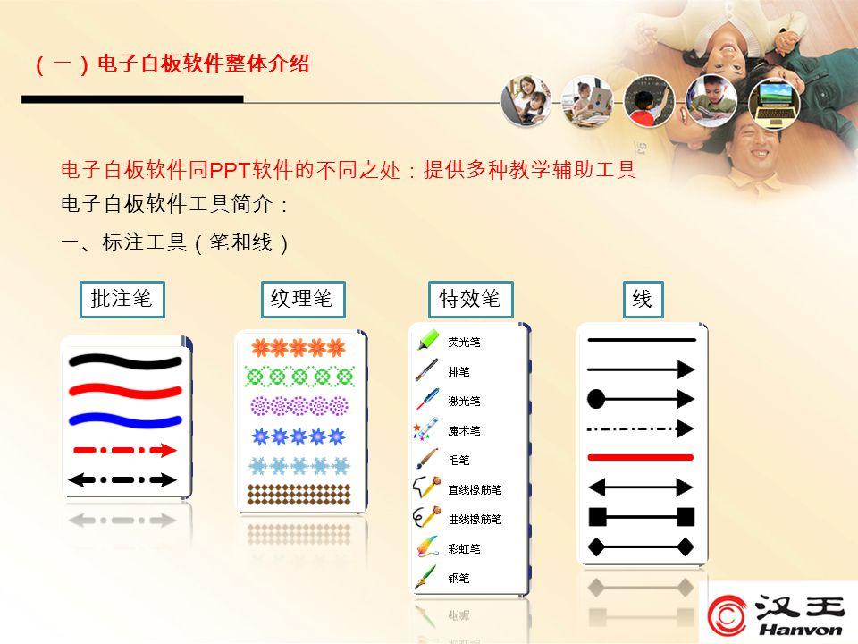 电子白板软件同 PPT 软件的不同之处:提供多种教学辅助工具 电子白板软件工具简介: 一、标注工具(笔和线) 纹理笔特效笔线批注笔 (一)电子白板软件整体介绍