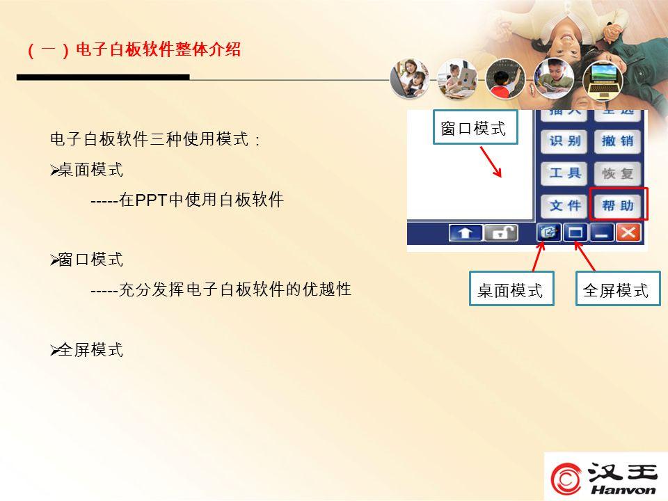 电子白板软件三种使用模式:  桌面模式 ----- 在 PPT 中使用白板软件  窗口模式 ----- 充分发挥电子白板软件的优越性  全屏模式 桌面模式 窗口模式 (一)电子白板软件整体介绍 全屏模式