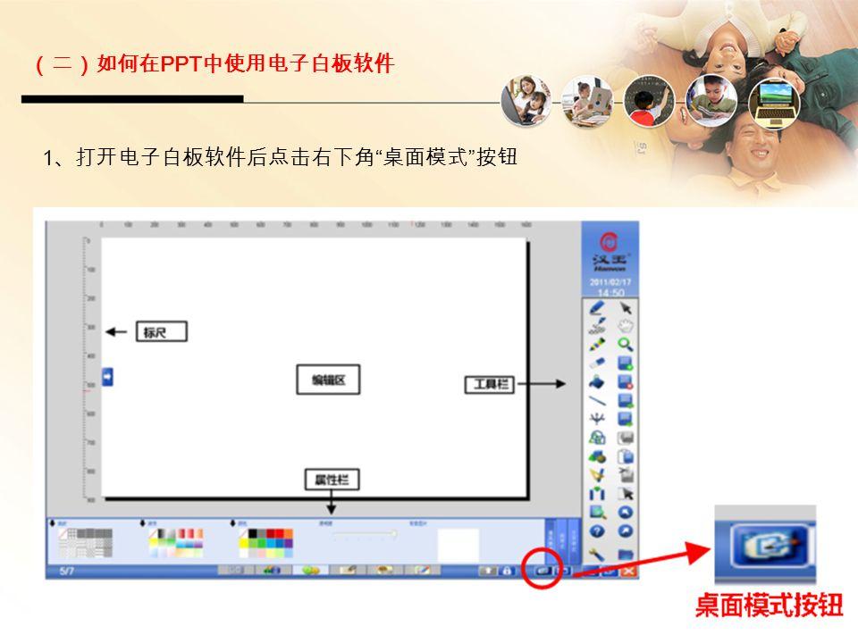"""(二)如何在 PPT 中使用电子白板软件 1 、打开电子白板软件后点击右下角 """" 桌面模式 """" 按钮"""