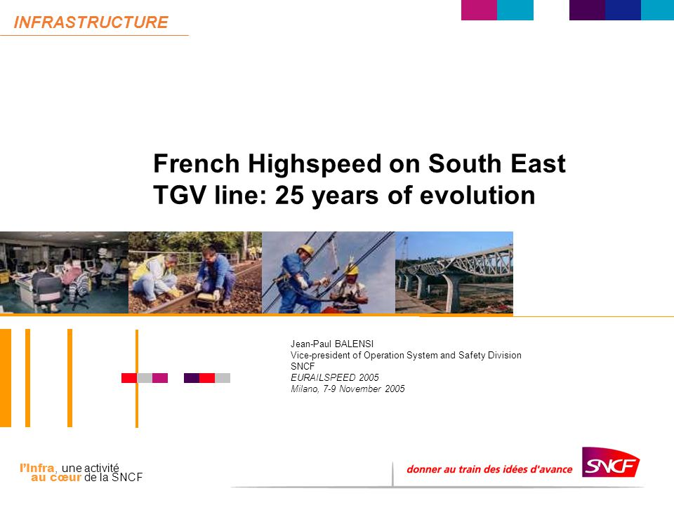 l'Infra, une activité au cœur de la SNCF INFRASTRUCTURE French Highspeed on South East TGV line: 25 years of evolution Jean-Paul BALENSI Vice-president of Operation System and Safety Division SNCF EURAILSPEED 2005 Milano, 7-9 November 2005