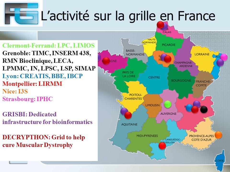 L'activité sur la grille en France Clermont-Ferrand: LPC, LIMOS Grenoble: TIMC, INSERM 438, RMN Bioclinique, LECA, LPMMC, IN, LPSC, LSP, SIMAP Lyon: CREATIS, BBE, IBCP Montpellier: LIRMM Nice: I3S Strasbourg: IPHC GRISBI: Dedicated infrastructure for bioinformatics DECRYPTHON: Grid to help cure Muscular Dystrophy