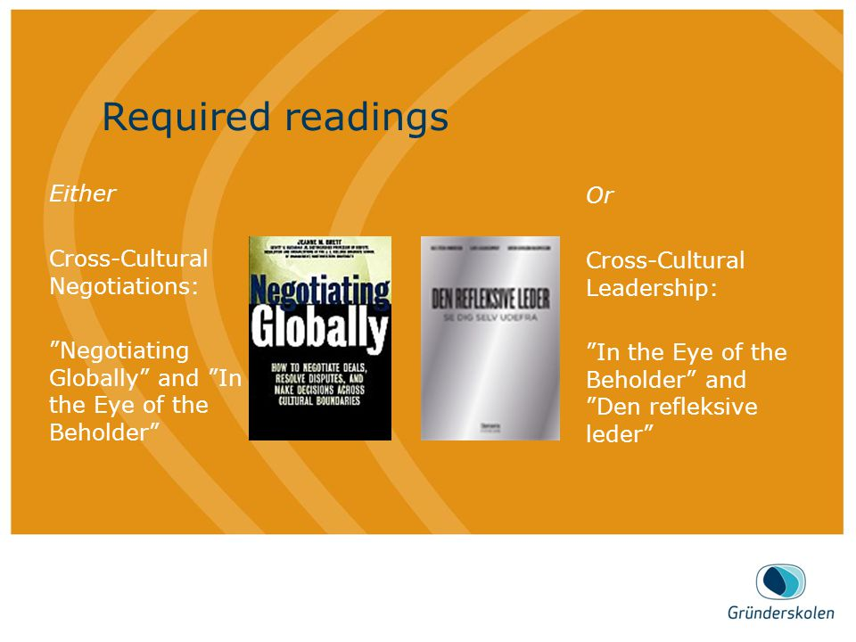 "AGENDA Dette er en brød tekst, på en mønstret bakgrunn. Required readings Either Cross-Cultural Negotiations: ""Negotiating Globally"" and ""In the Eye o"