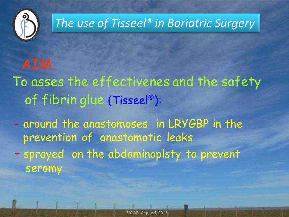 The use of Tisseel® in Bariatric Surgery Gastro-jejunal leak (range 0.1-4.3%) (range 0.1-4.3%) LRYGBP LRYGBP Major Complication Major Complication The efficacy of fibrin sealant in preventing leaks after LRYGBP has been reported in :   NON RANDOMIZED trials - Nguyen et al, Sapala et al (2004), ) - Liu et al (2004), Carbajo & Garcia-Caballero (2005 )  RANDOMIZED trials - Silecchia et al (2008)