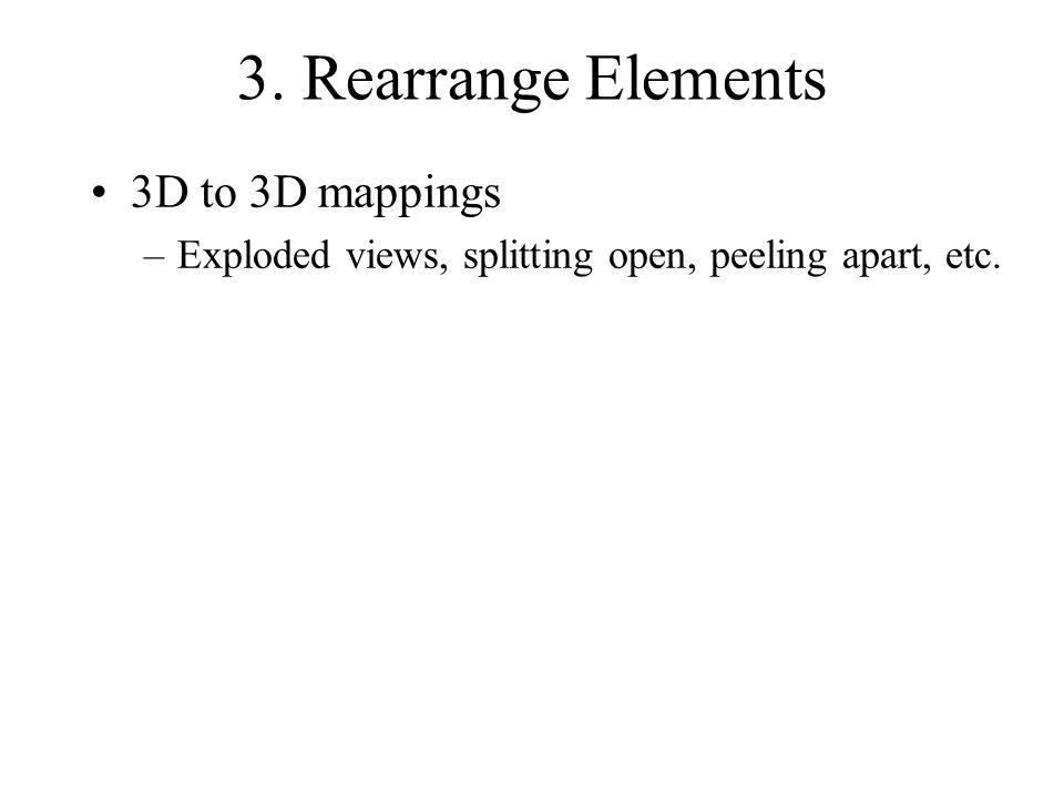 3. Rearrange Elements 3D to 3D mappings –Exploded views, splitting open, peeling apart, etc.