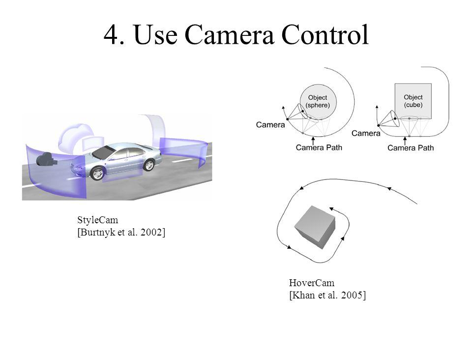 4. Use Camera Control StyleCam [Burtnyk et al. 2002] HoverCam [Khan et al. 2005]