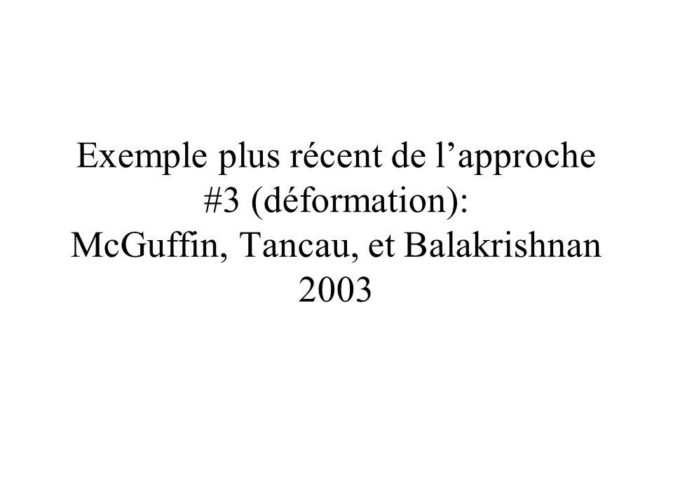 Exemple plus récent de l'approche #3 (déformation): McGuffin, Tancau, et Balakrishnan 2003