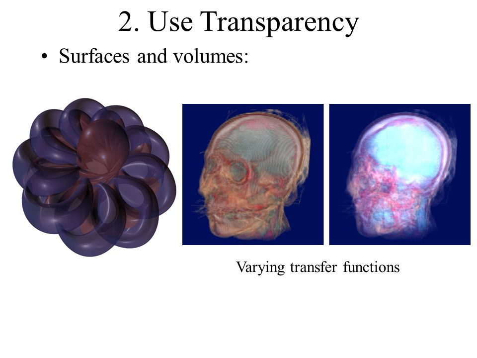 2. Use Transparency Surfaces and volumes: Varying transfer functions