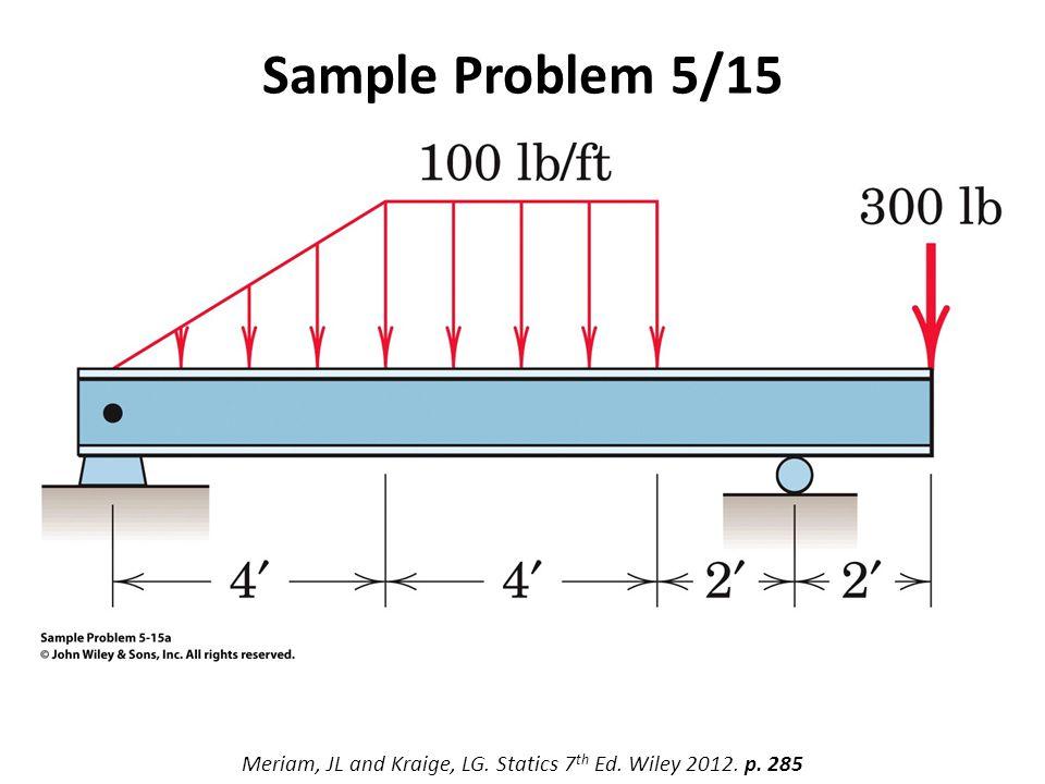 Sample Problem 5/15 Meriam, JL and Kraige, LG. Statics 7 th Ed. Wiley 2012. p. 285