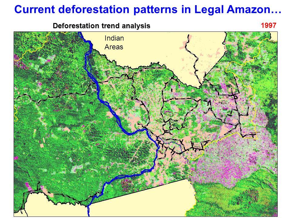 Current deforestation patterns in Legal Amazon… 1997 Indian Areas Deforestation trend analysis