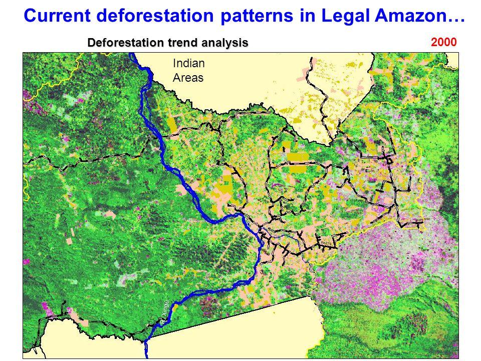 Current deforestation patterns in Legal Amazon… 2000 Indian Areas Deforestation trend analysis