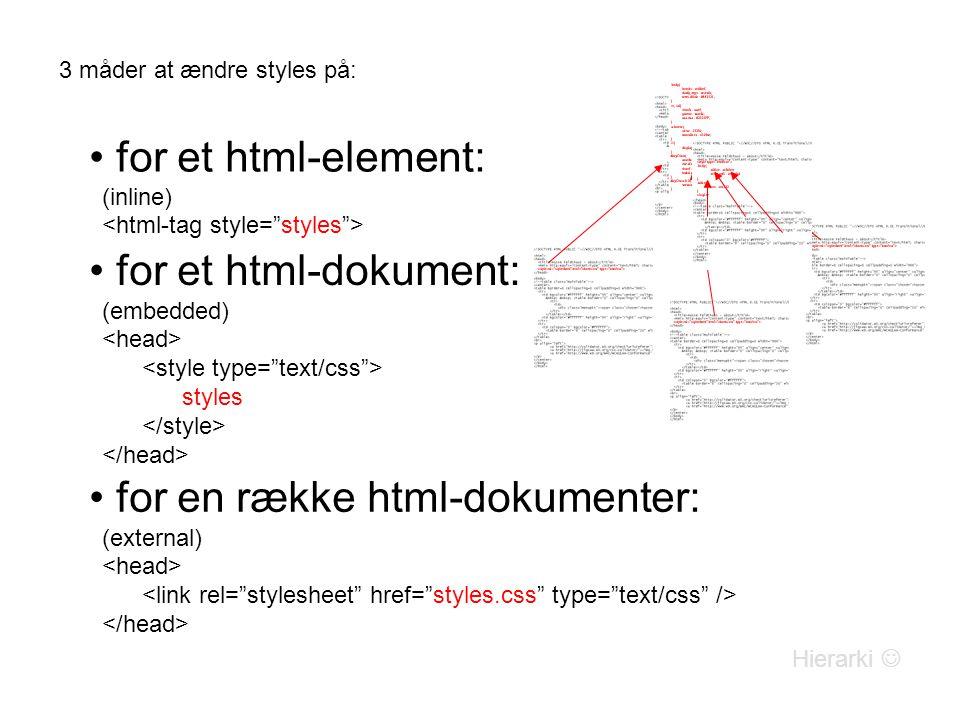3 måder at ændre styles på: for et html-element: (inline) for et html-dokument: (embedded) styles for en række html-dokumenter: (external) Hierarki