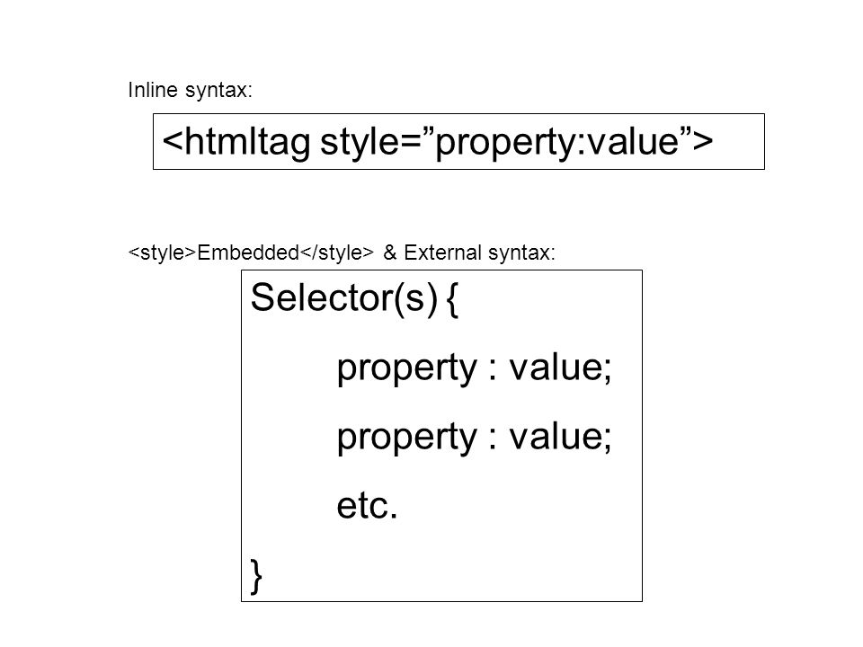Selector(s) { property : value; etc. } Inline syntax: Embedded & External syntax: