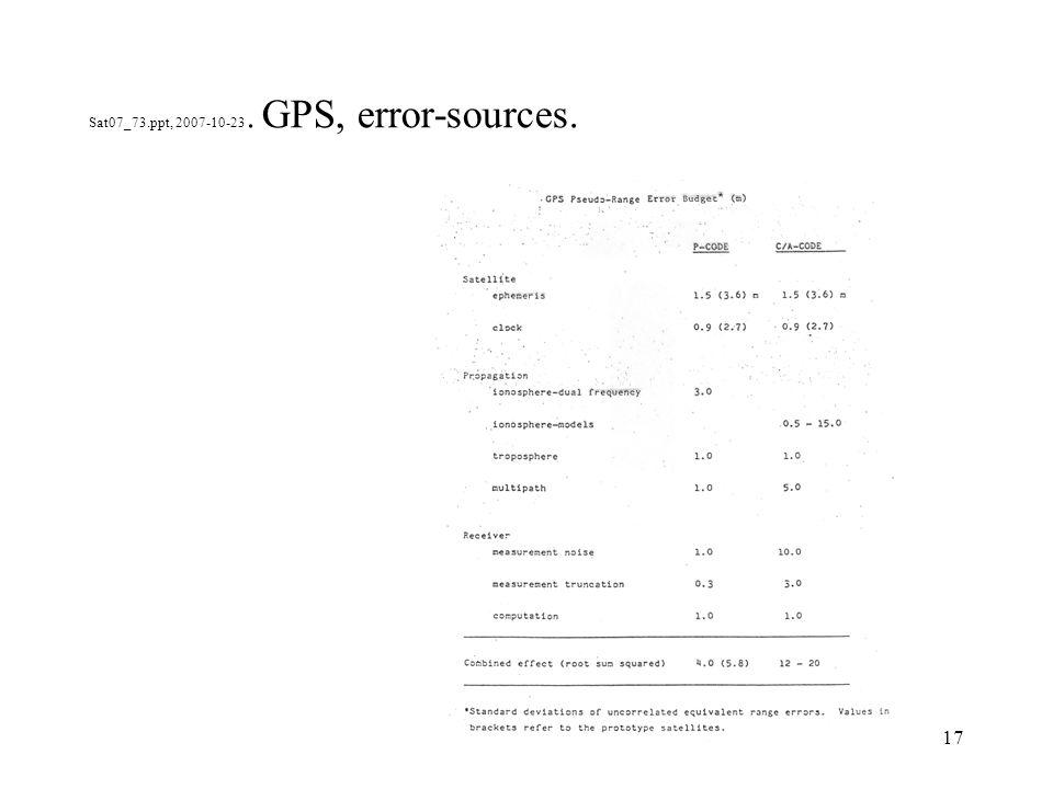 17 Sat07_73.ppt, 2007-10-23. GPS, error-sources.