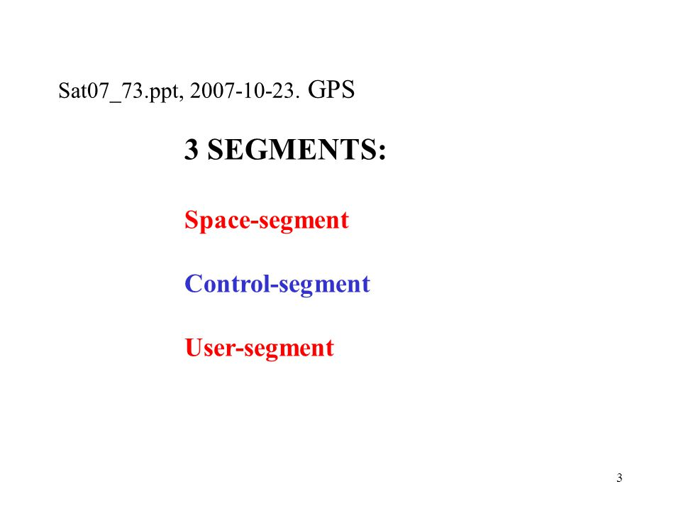 3 3 SEGMENTS: Space-segment Control-segment User-segment
