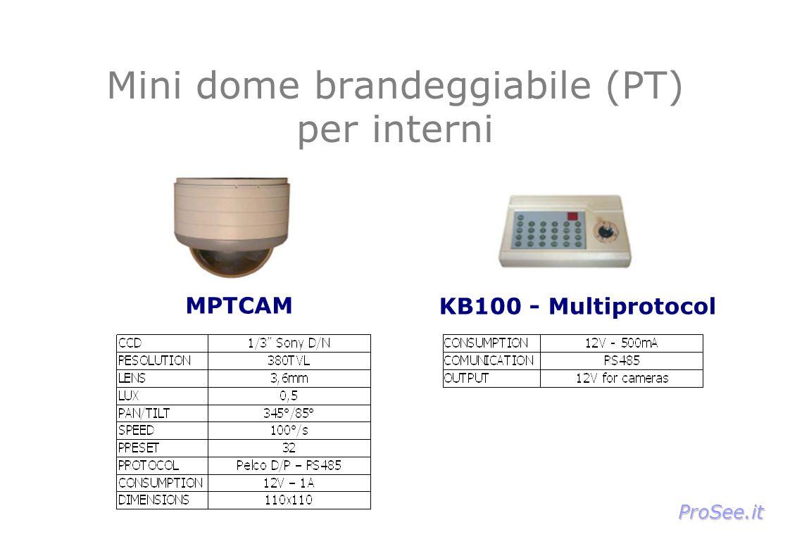 Mini dome brandeggiabile (PT) per interni MPTCAM KB100 - Multiprotocol ProSee.it