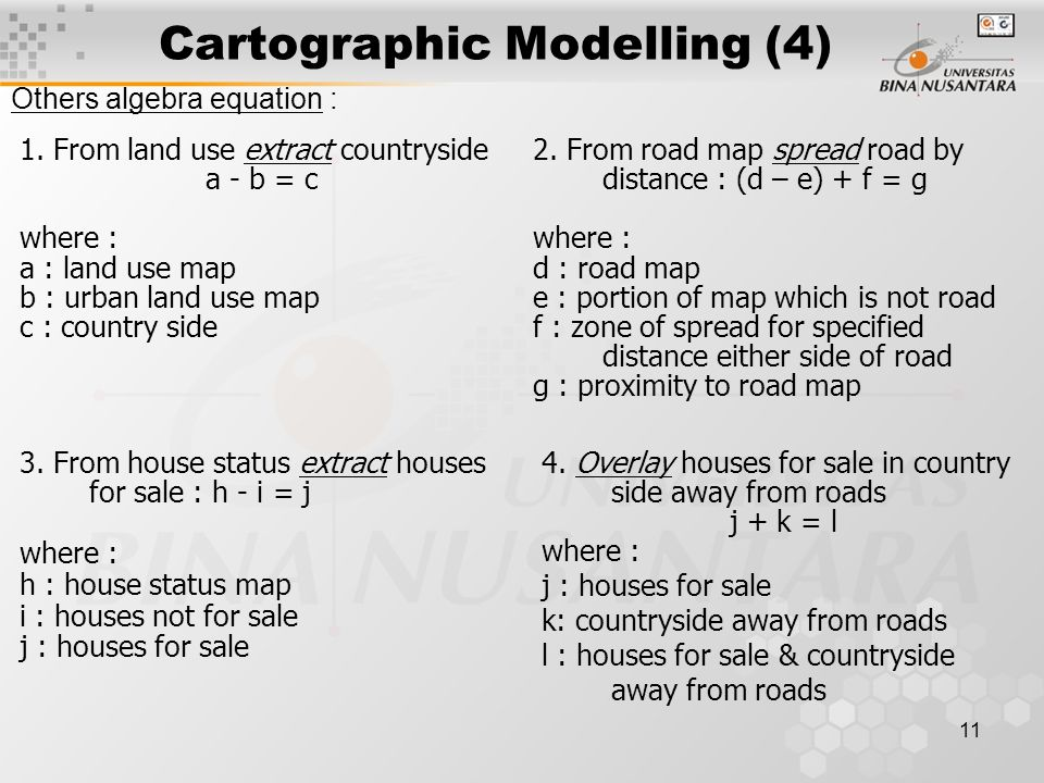 11 Cartographic Modelling (4) Others algebra equation : 1.