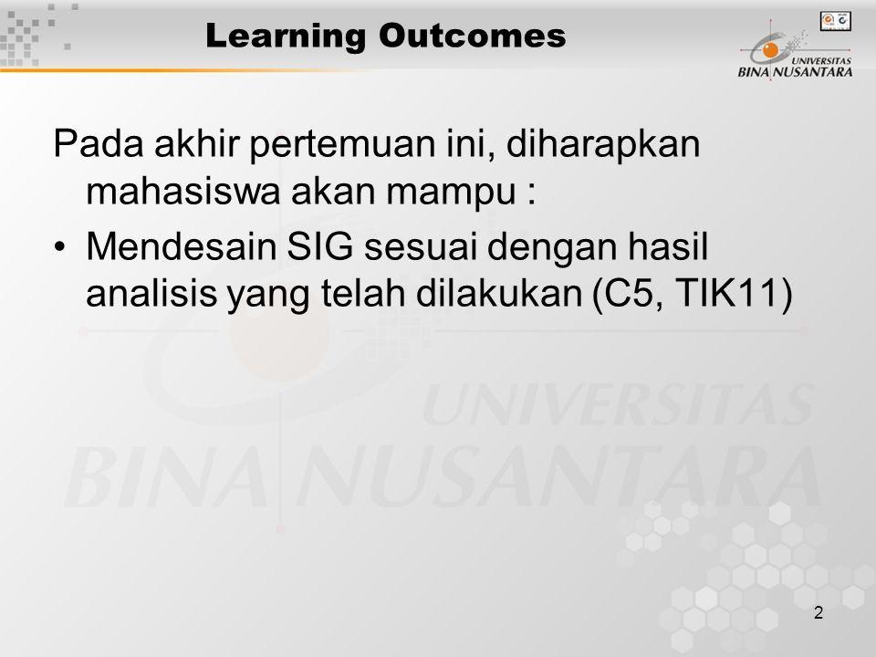 2 Learning Outcomes Pada akhir pertemuan ini, diharapkan mahasiswa akan mampu : Mendesain SIG sesuai dengan hasil analisis yang telah dilakukan (C5, TIK11)