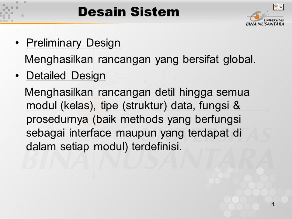 4 Desain Sistem Preliminary Design Menghasilkan rancangan yang bersifat global.