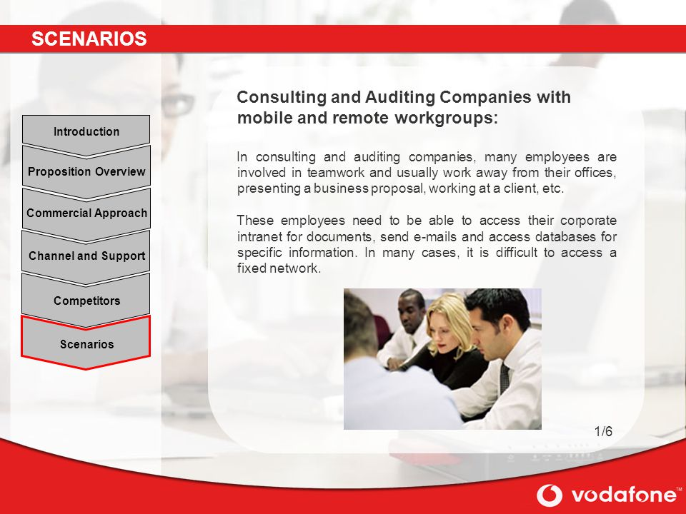 Scenarios Channel and Support Commercial Approach Proposition Overview Introduction Competitors Consulting and Auditing Companies with mobile and remote workgroups: In consulting and auditing companies, many employees are involved in teamwork and usually work away from their offices, presenting a business proposal, working at a client, etc.