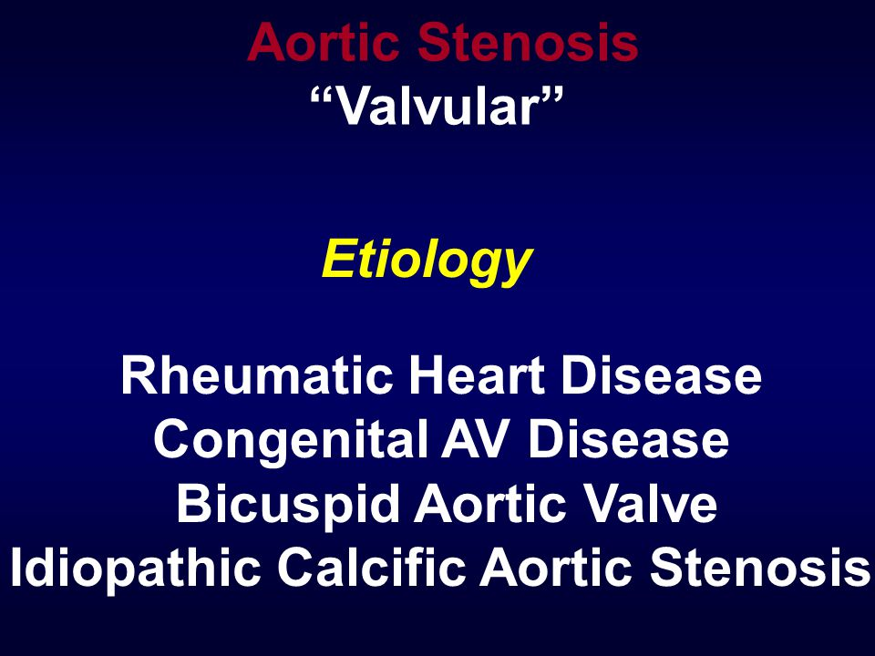 Etiology Rheumatic Heart Disease Congenital AV Disease Bicuspid Aortic Valve Idiopathic Calcific Aortic Stenosis Aortic Stenosis Valvular