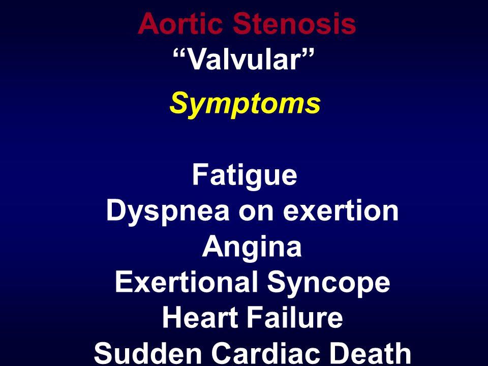 Symptoms Fatigue Dyspnea on exertion Angina Exertional Syncope Heart Failure Sudden Cardiac Death Aortic Stenosis Valvular