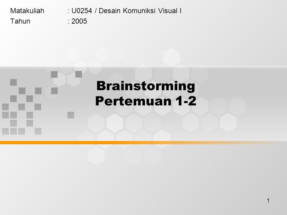 1 Brainstorming Pertemuan 1-2 Matakuliah: U0254 / Desain Komuniksi Visual I Tahun: 2005