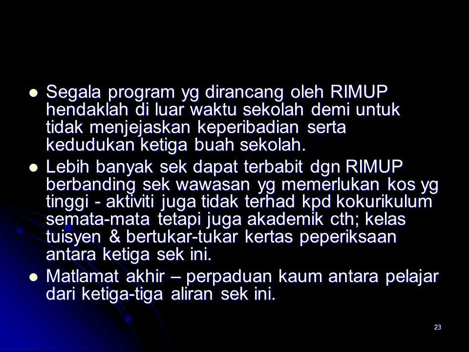 23 Segala program yg dirancang oleh RIMUP hendaklah di luar waktu sekolah demi untuk tidak menjejaskan keperibadian serta kedudukan ketiga buah sekola