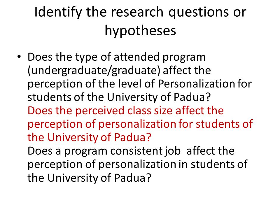 Does the type of attended program (undergraduate/graduate) affect the perception of the level of Personalization for students of the University of Padua.