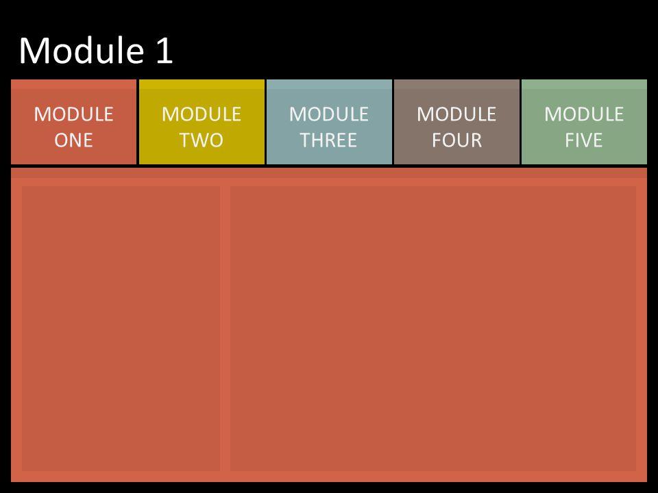 MODULE FIVE MODULE FOUR MODULE THREE MODULE TWO MODULE ONE Module 1