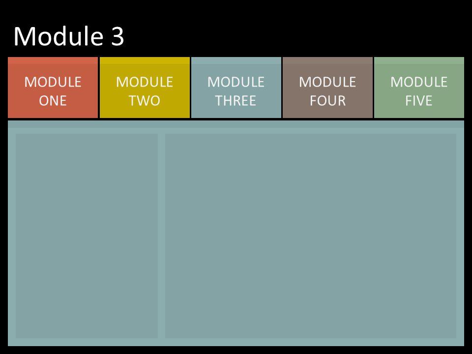 MODULE FIVE MODULE FOUR MODULE THREE MODULE TWO MODULE ONE Module 3