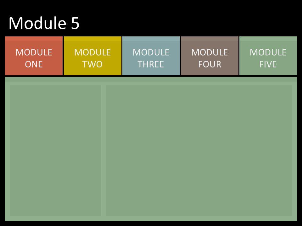 MODULE FIVE MODULE FOUR MODULE THREE MODULE TWO MODULE ONE Module 5